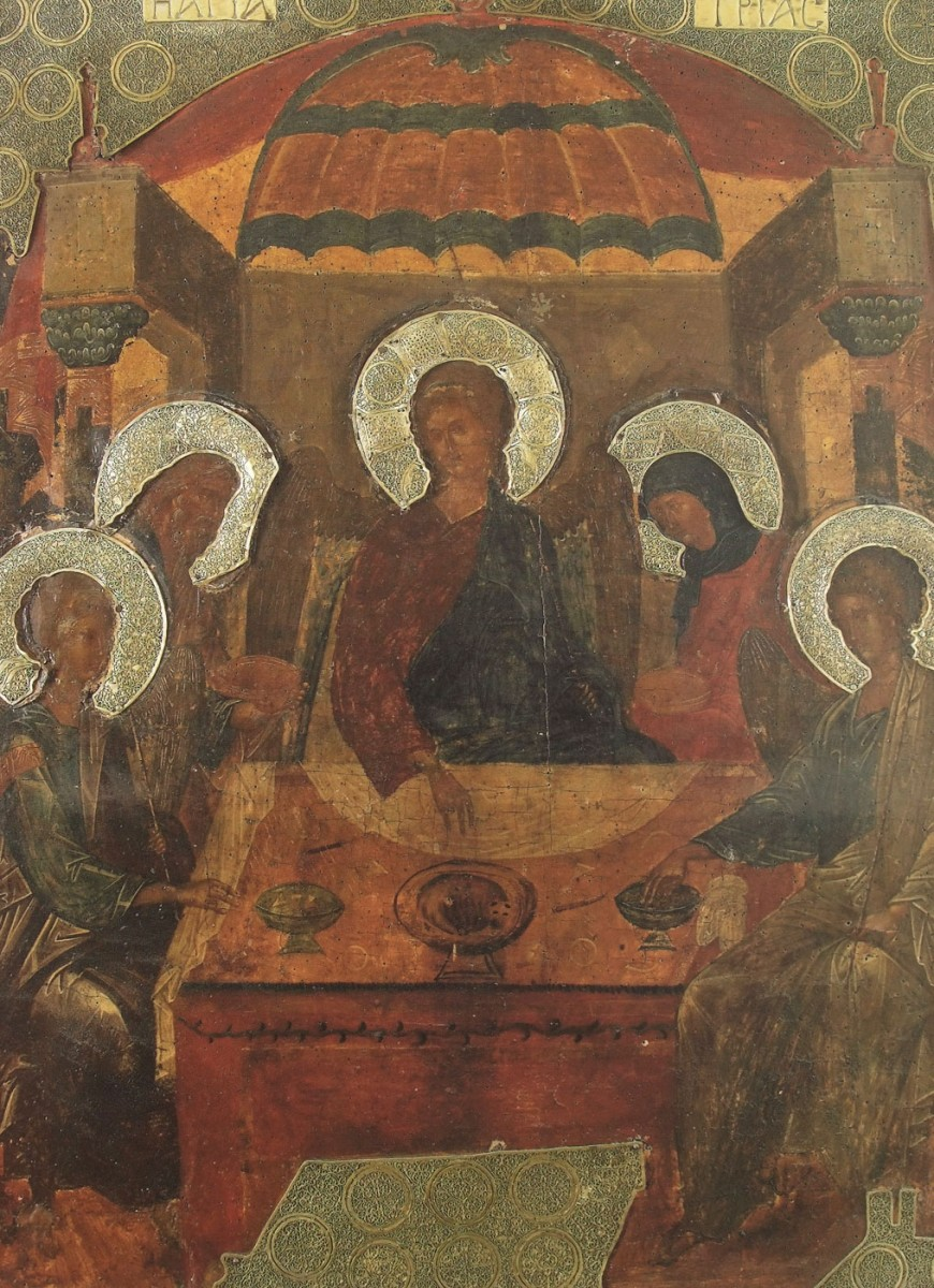 "Fig. 7. ""The hospitality of Abraham"": (late 14th century icon from the Holy Great Monastery of Vatopedi ), ""Ιερά Μεγίστη Μονή Βατοπαιδίου"" (1996), vol. II, p. 495."