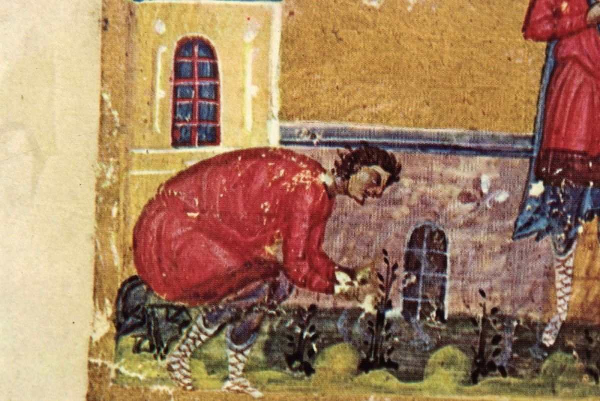 "Fig. 8. ""Saint Mamas bent over tending to some plant"" (miniature), ""Οι Θησαυροί του Αγίου Όρους"", vol. I, p. 105, fig. 107."