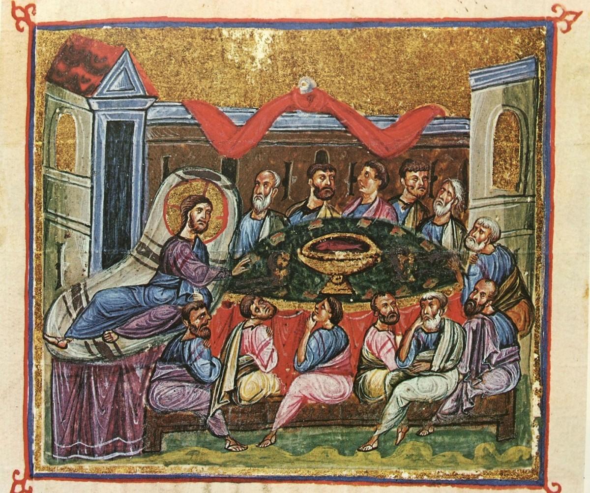 "Fig. 9. ""The Last Supper"" (miniature), ""Οι Θησαυροί του Αγίου Όρους"", vol. I, p. 183, fig. 224."