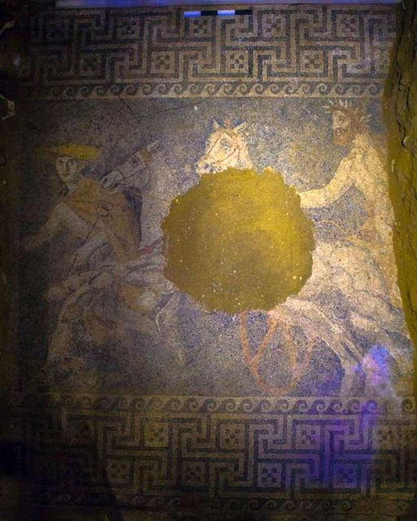 An elaborate mosaic floor came to light at the Amphipolis site.  (Photo credit: Ministry of Culture and Sports)