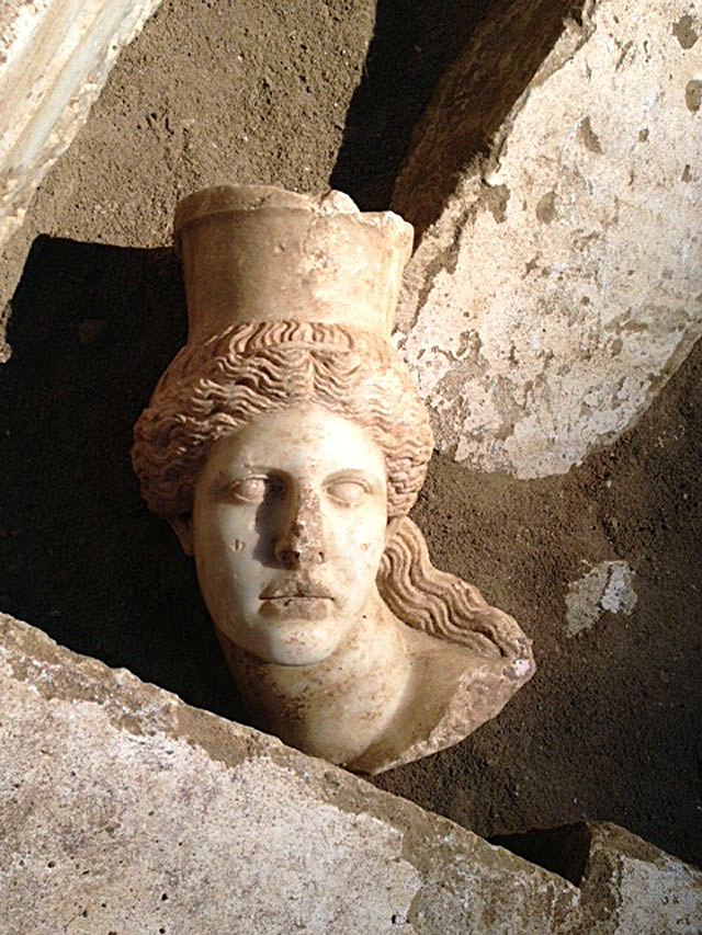 Fig. 1. A Sphinx's marble head was found during the excavation works on the Kasta tomb.