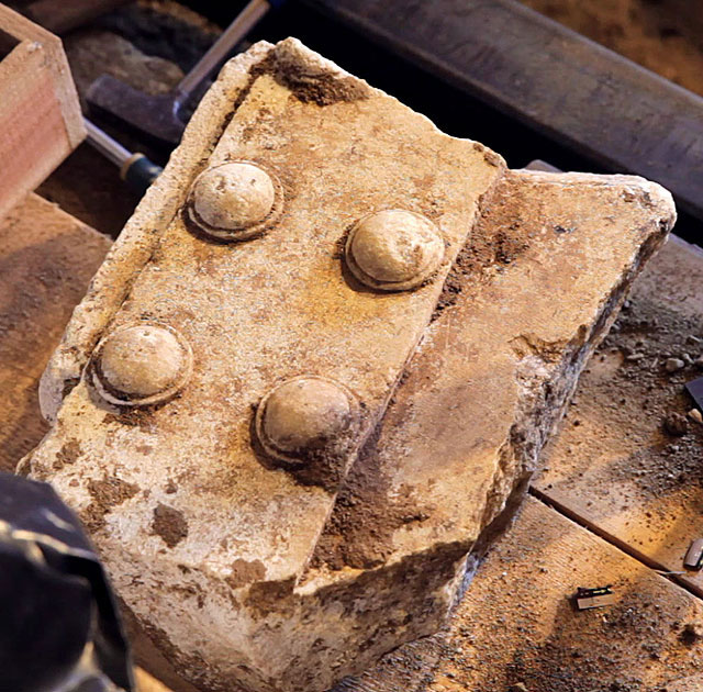 Amphipolis: Part of the marble door found on Kasta hill.