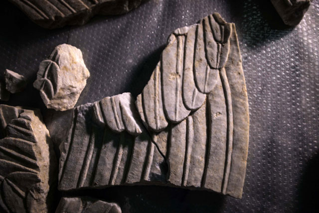 Parts of the Sphinxes' wings  found during the Amphipolis excavations.