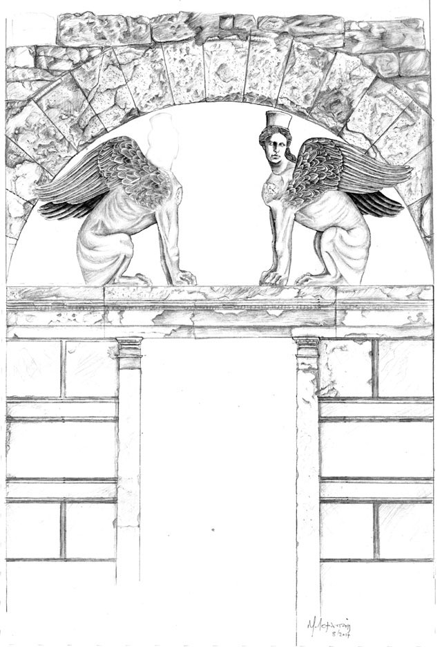 Reconstruction of the tomb entrance by the architect M. Lefantzis.