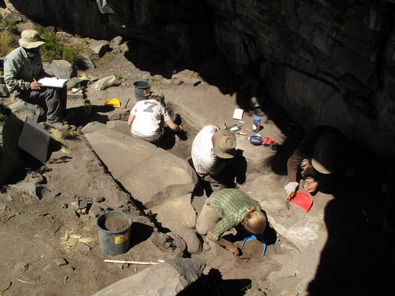 Excavations at Cuncaicha Rock Shelter. Courtesy Kurt Rademaker