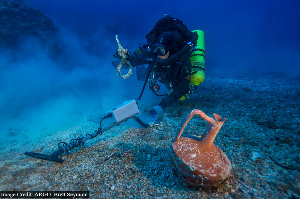 Metal detector survey of the shipwreck area.