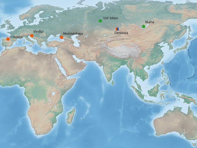 Map of Pleistocene fossils with published nuclear DNA (orange: Neandertals, blue: Denisovans, green: modern humans). © MPI for Evolutionary Anthropology/ Bence Viola
