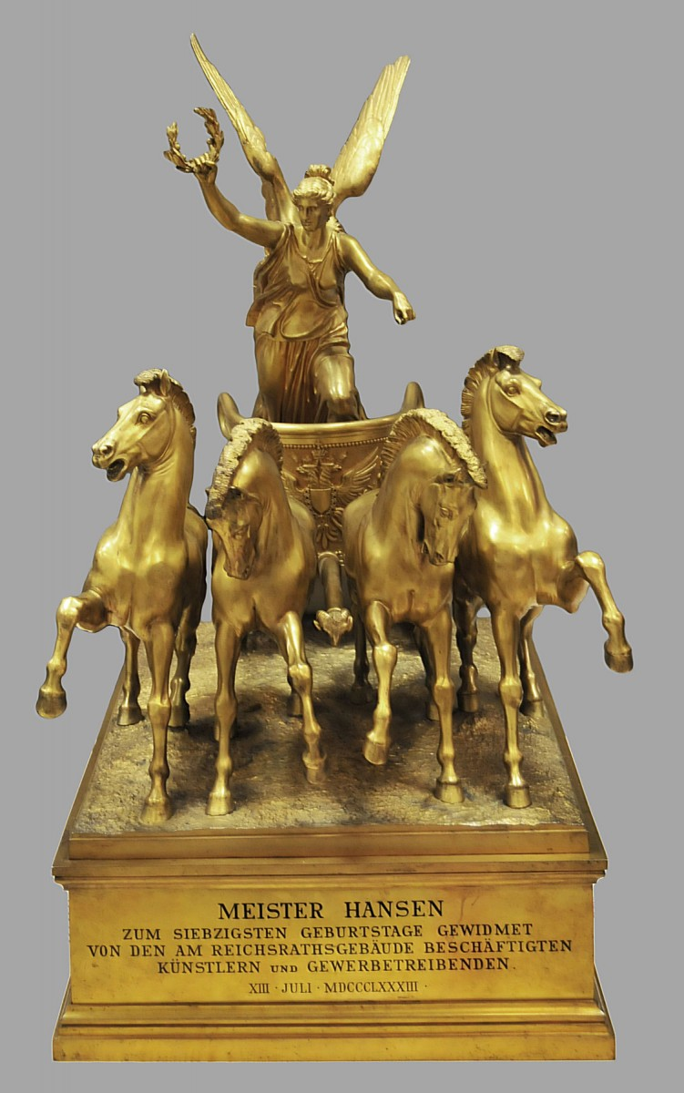The quadriga with the goddess Nike from the collection of Theophil Hansen.