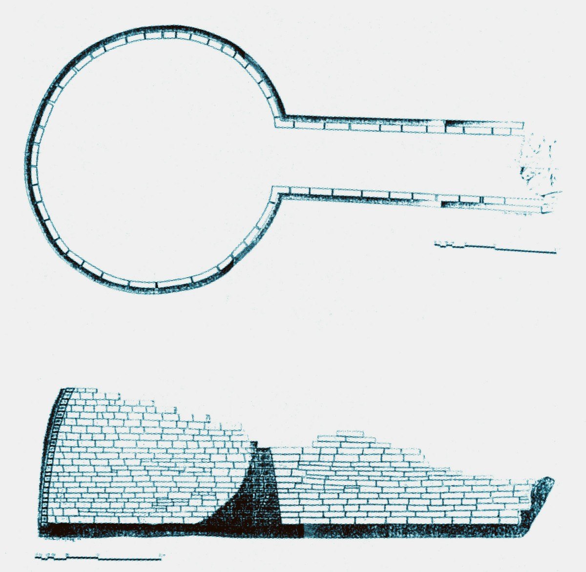 Fig. 3. Groundplan and section of the tholos tomb at Kiperi in Parga. (Source: Th. Papadopoulos)