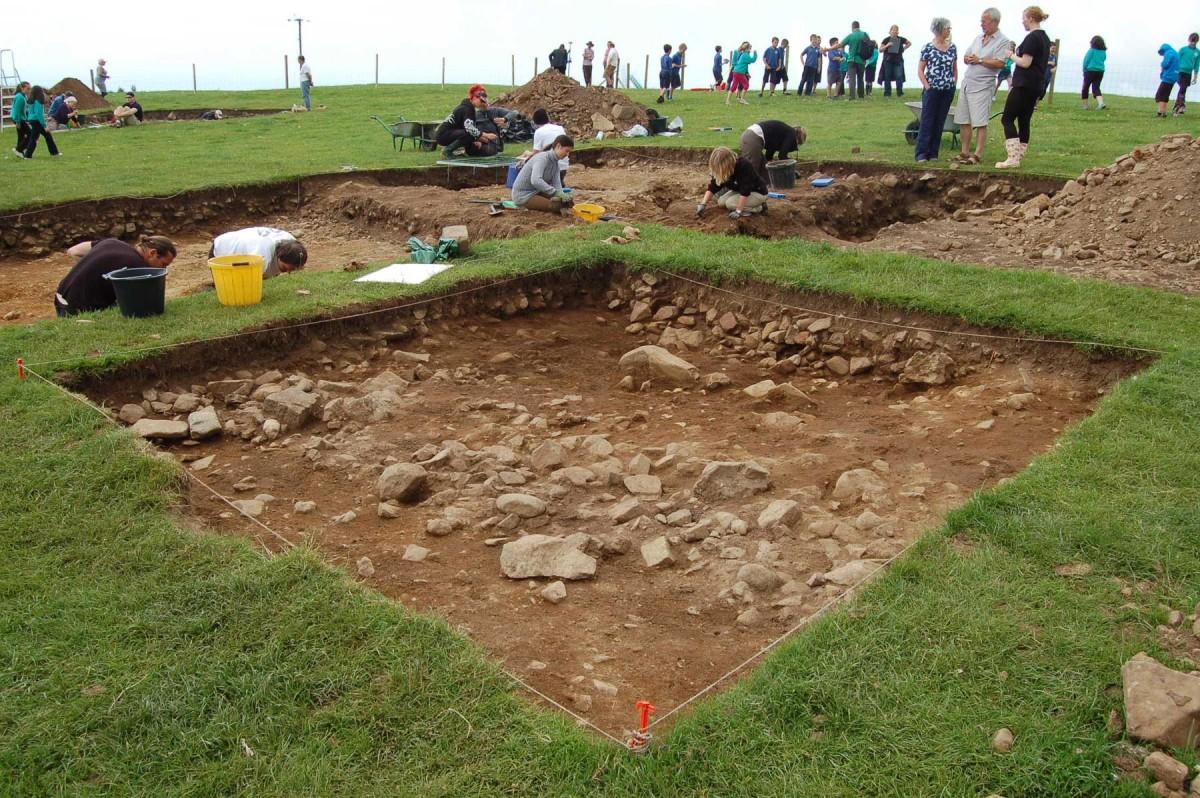 Excavation site at Meillionydd, near Rhiw, in Gwynedd.