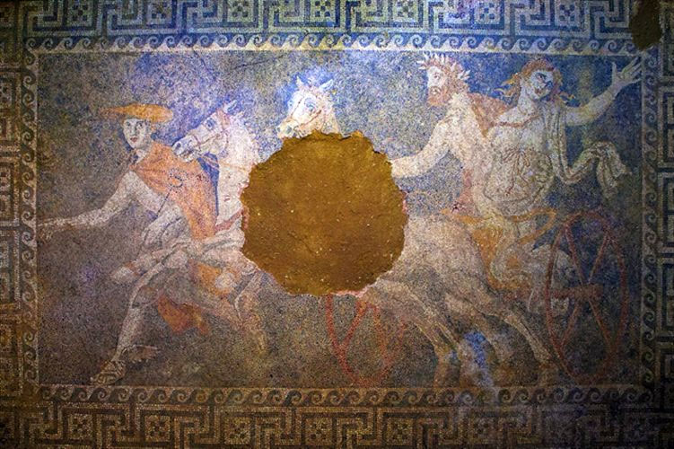 Persephone's abduction os depicted on the Amphipoli's mosaic.
