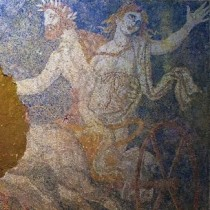 Persephone's abduction by Pluto is depicted on the mosaic