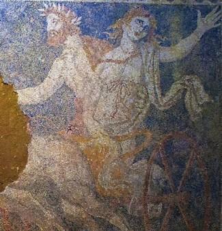 Persephoneand Pluto on Amphipoli's mosaic.