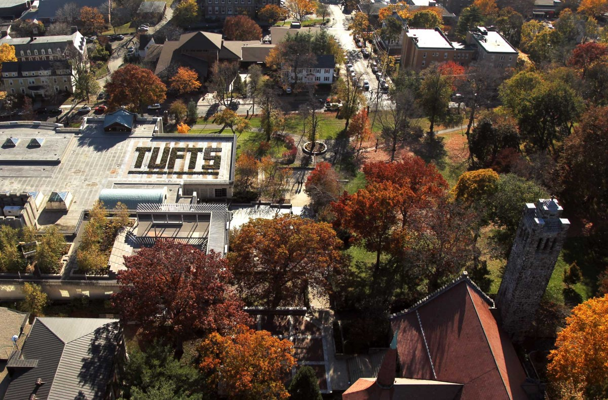 Aerial view of Tufts University.