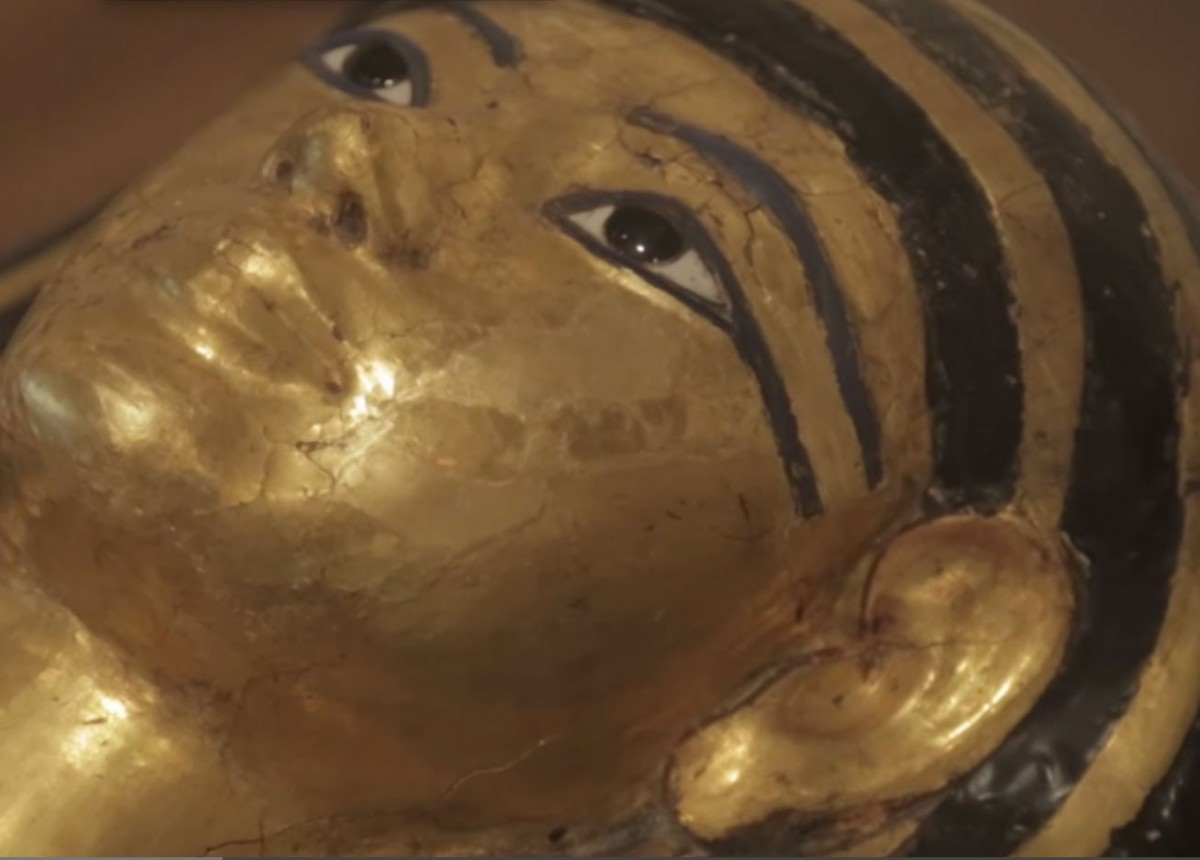 """Henut-Wedjebu, the oldest of the mummies, was discovered in a cave-like tomb near the ruins of the Egyptian city of Thebes. Her name means """"singer of Amun and lady of the house""""."""