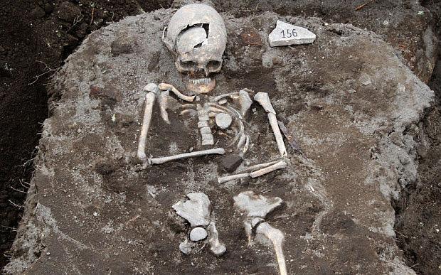 The skeleton with an iron rod through the chest. Photo: Rex