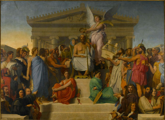 Homer Deified, also known as The Apotheosis of Homer, by Jean-Auguste-Dominique Ingres.  Musée du Louvre, Paris.