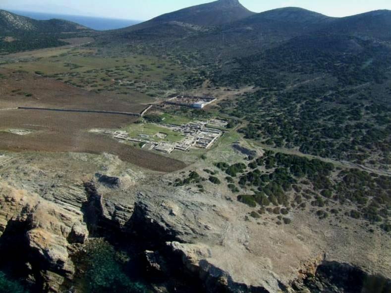 Excavation site on Despotiko, aerial view. (Source: Aegean Institute)