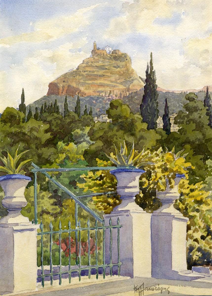 Kostas Plakotaris, Lycabettus, watercolour on paper, Municipal Gallery of Athens.