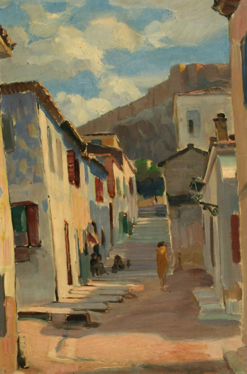 Stavros Papapanagiotou, Old Athens, oil on canvas. Municipal Gallery of Athens.