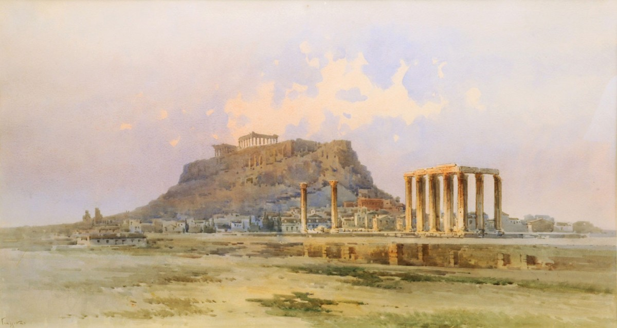 Aggelos Giallinas, Acropolis, watercolour on paper. Municipal Gallery of Athens.