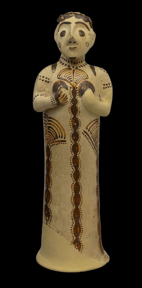 """Female figurine. Late Helladic IIIB2 (second half of the 13th century BC). Clay. H.0.3 m, body d. 0.07 m, d. base 0.09 m. Mycenae, Acropolis, Cult Centre """"Temple"""", Room 19. Mycenae, Archaeological Museum, ΜΜ294."""