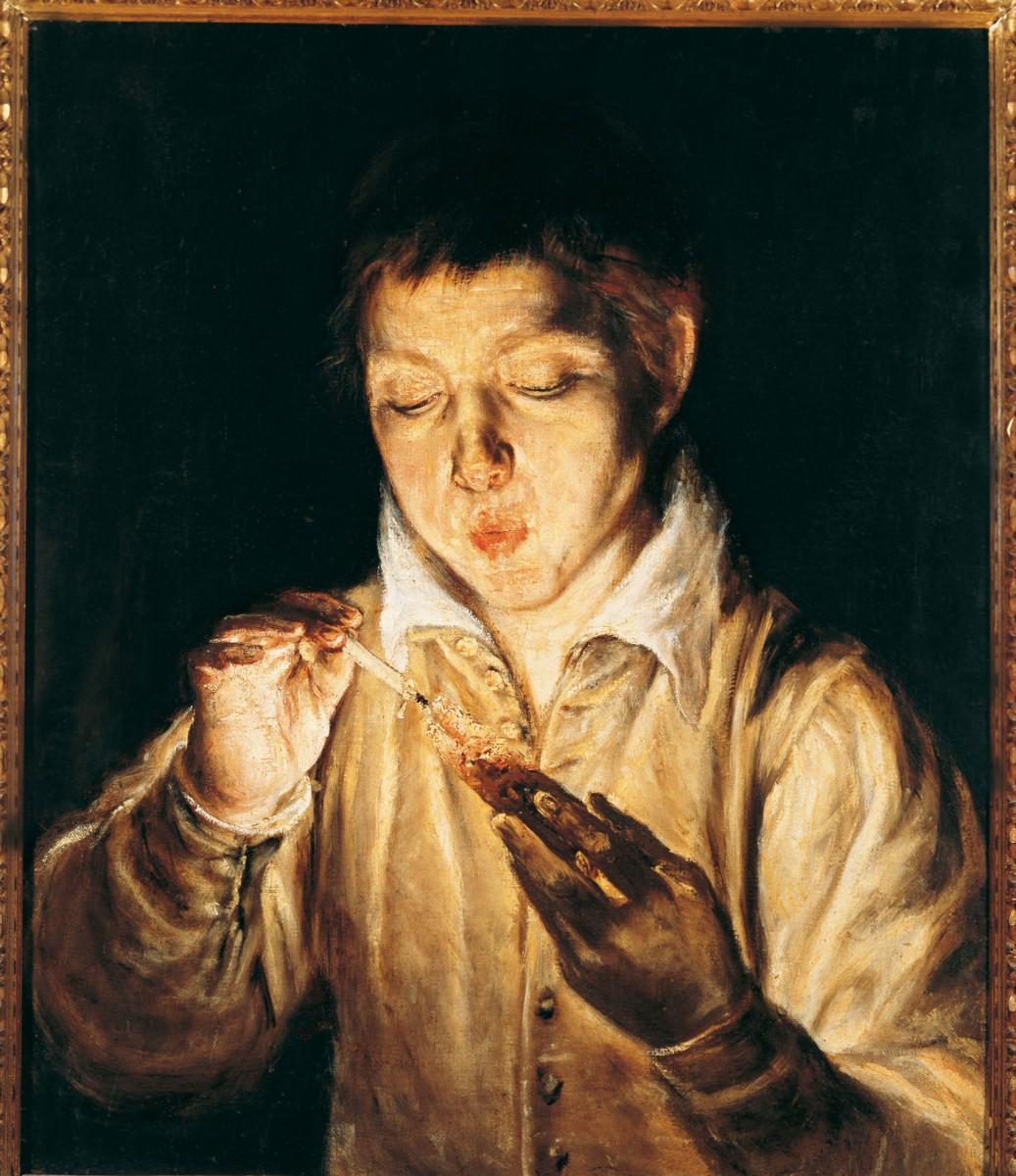 El Greco, A boy blowing a candle (Soplόn) 1570-72. Museo Nazionale di Capodimonte, Naples.
