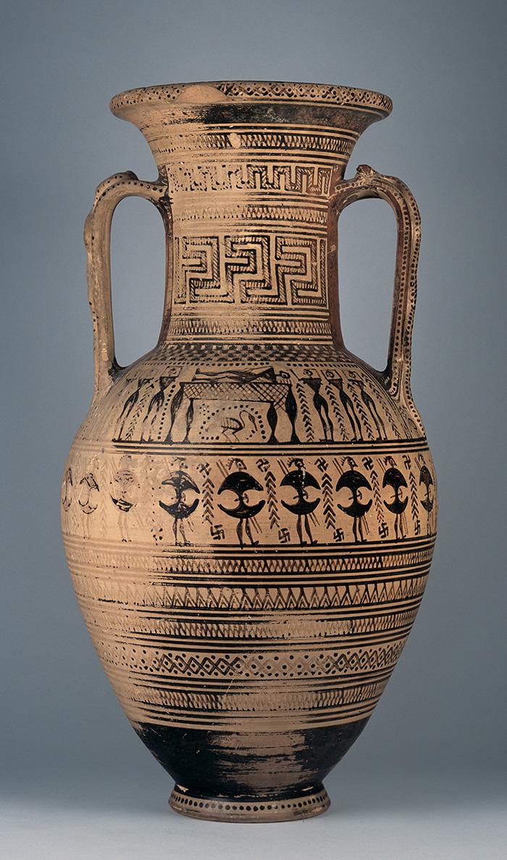 Attic Geometric Amphora. Hirschfeld Painter. Clay. H. 0.555 m, d. rim 0.22 m, d. max. 0.295 m., d. base 0.12 m. Unknown provenance, perhaps from Marathon, D. Kyriazis donation. Athens, National Archaeological Museum, 18062.