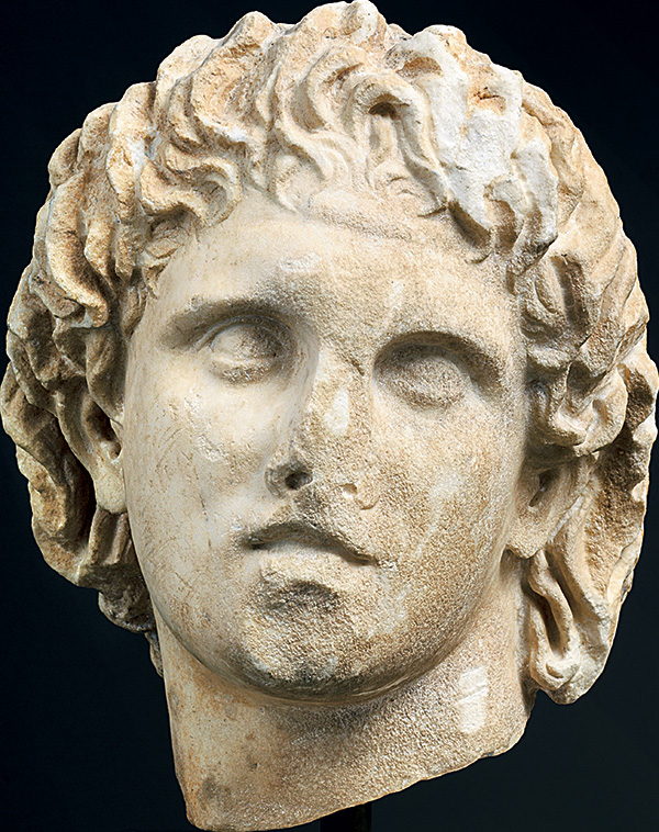 Head of Alexander. Early Hellenistic period. Marble 30x27x27 cm.  Region of Pella, Pella, Archaeological Museum, inv. no. ΓΛ 15.