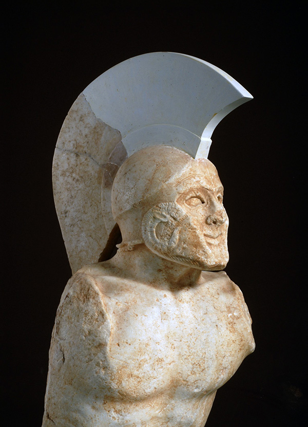 "Statue of a hoplite, known as ""Leonidas"", 480–470 BC. Parian marble. H. 0.93 m with the restored helmet crest. From the Acropolis of Sparta, southwest of the Sanctuary of Athena Chalkioikos. Sparta, Archaeological Museum, 3365."