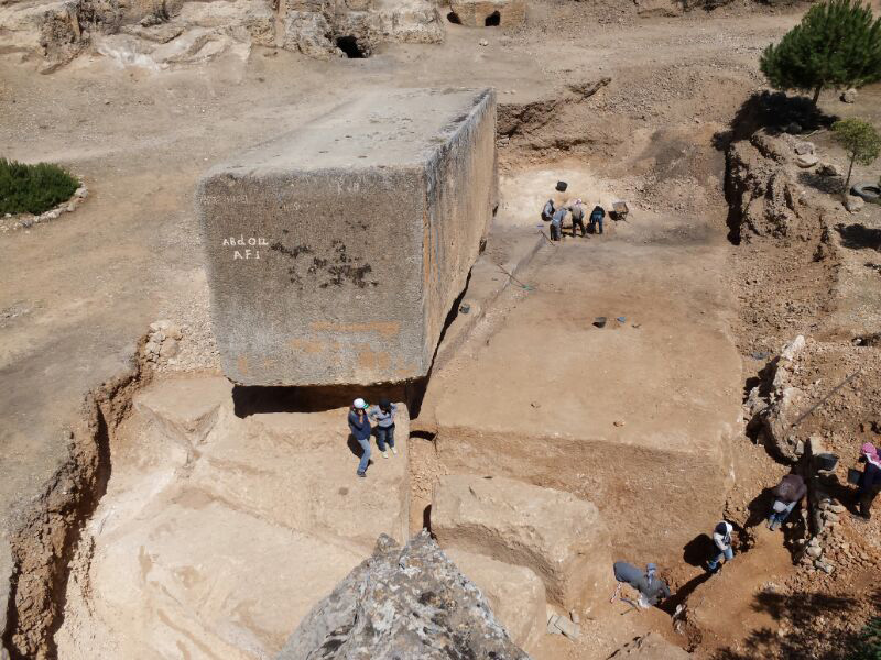 The largest ancient stone block, found in Baalbek/Lebanon, at an altitude of approximately 1,170 meters.
