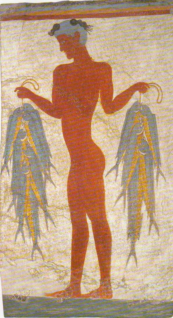 "Fig. 1. ""Little Fisherman"". Wall painting, Akrotiri, Thera. The fisherman holds dolphin fish (Coryphaena hippurus) and little tunnies (Euthynnus alletteratus)."