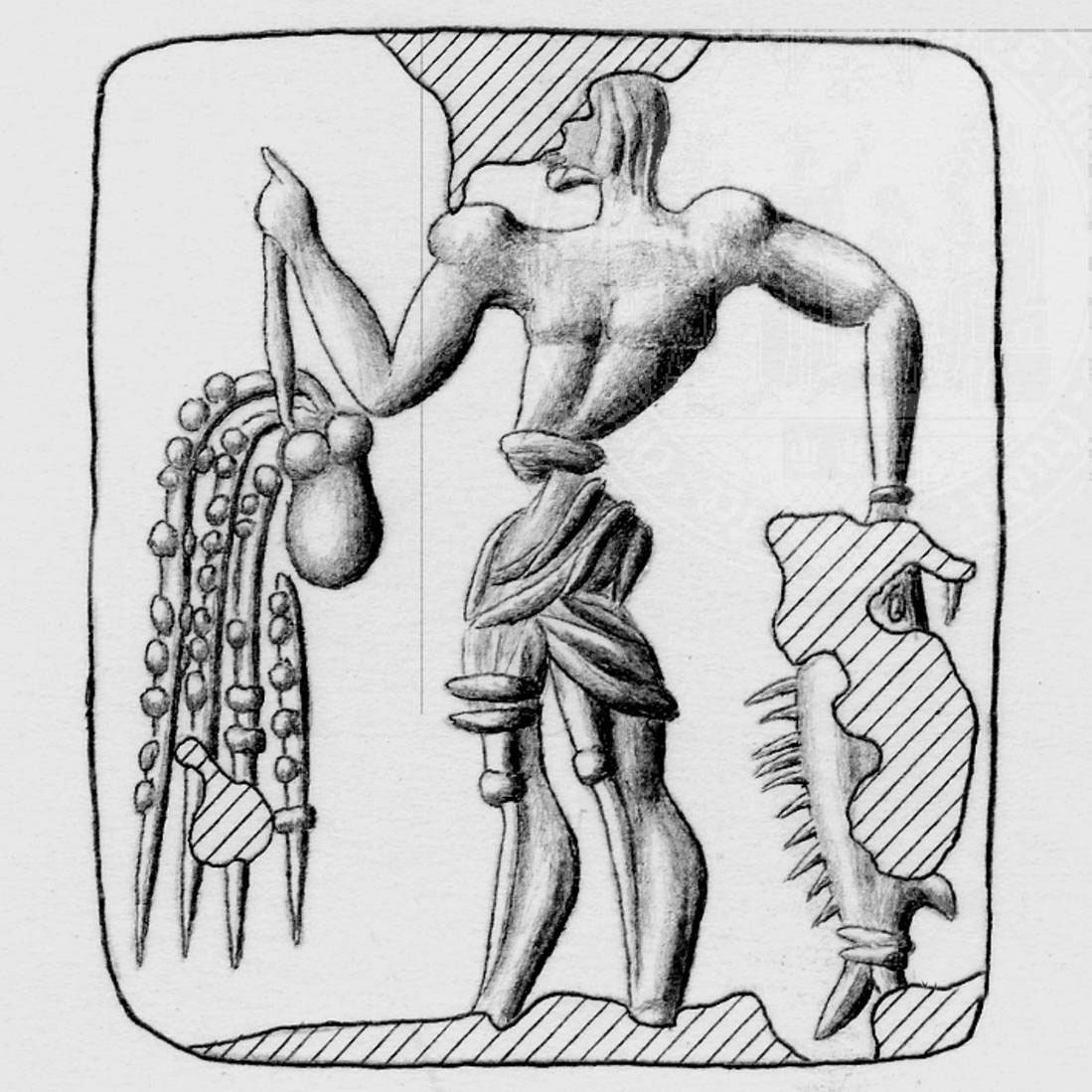 Fig. 10.  Seal with a fishermen holding his catch, an octopus and a fish (CMS VI 183).