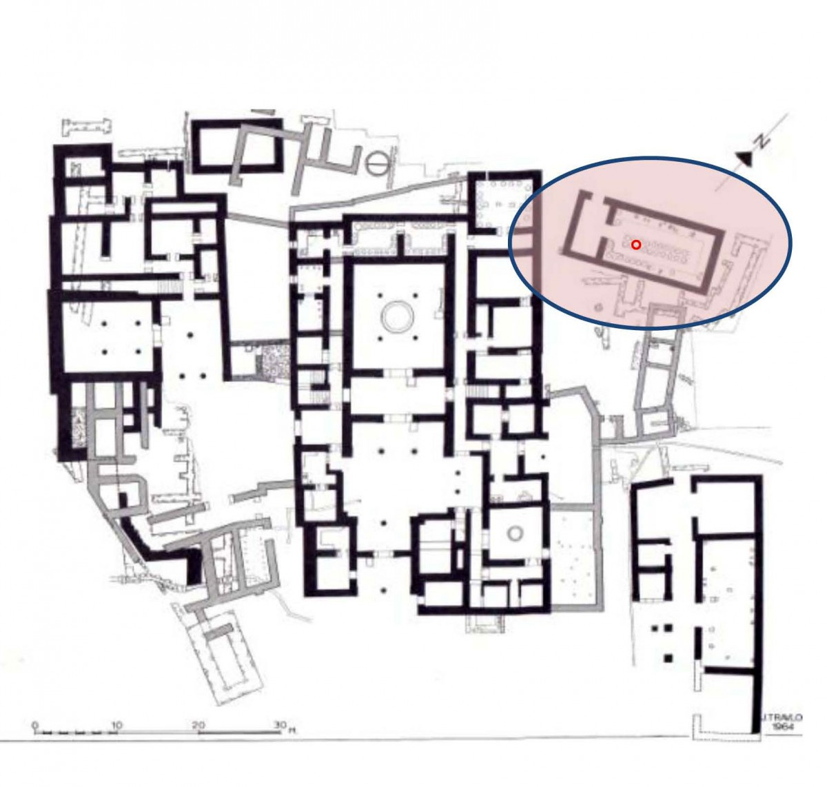 Fig. 1. Pylos, Plan of the Site. The Palace of Neleus (left),  Nestor's Palace in the center. The olive storage area at the rear of the throne room and the wine magazine at the upper right; on it  is marked the location of the metal pole of the new protection shelter (Carl W. Blegen, The Palace of Nestor at Pylos I, 1966, Fig 417).