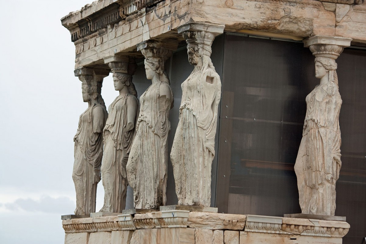 Replicas of the Caryatids at the Erechtheum.  Wikimedia Commons