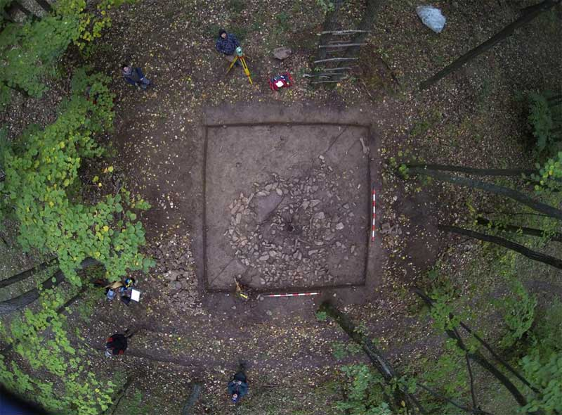 Drone image of barrow/cenotaph explored during 2014 excavation. Image: Maria Magdalena Stefan and Dan Stefan/Digital Domain.