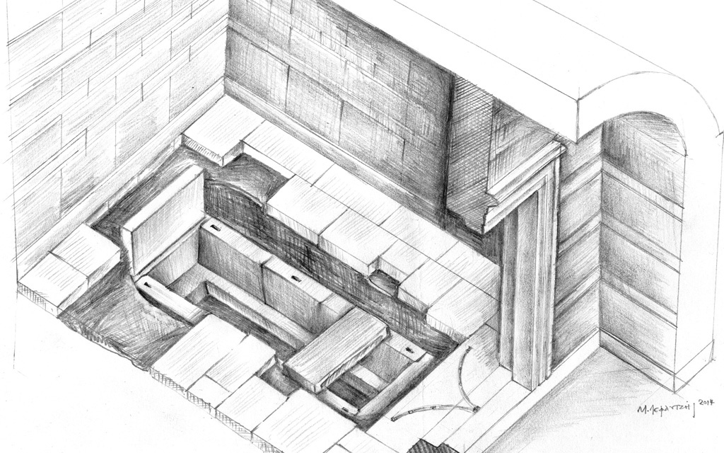 Amphipolis: a big cist grave was found made of porous stones. (Drawing by M. Lefantzis)