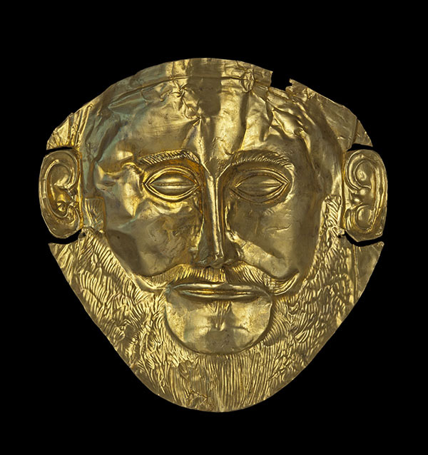 "Copy of the gold ""Mask of Agamemnon''. Late Helladic Ι (second half of 16th century BC). H. 0.25 m, W. 0.26 m. Mycenae, Grave Circle Α, Tomb V. Original on display in Athens, National Archaeological Museum, 624; copy on display at Mycenae, Archaeological Museum."