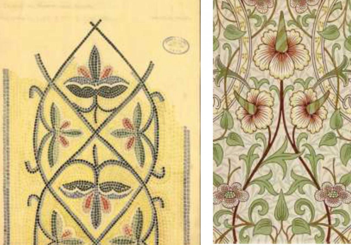 Robert Weir Schultz' and Sidney Barnsley's final inked drawing of the decorative mosaic bands in the main church, katholicon, of the Daphni Monastery, Attica, Greece BSA BRF Archive: 01.01.01.164, British School at Athens (left) Modern reproduction (tile) of the Daffodil Wallpaper created by William Morris and Co in the late 19th-century (right).