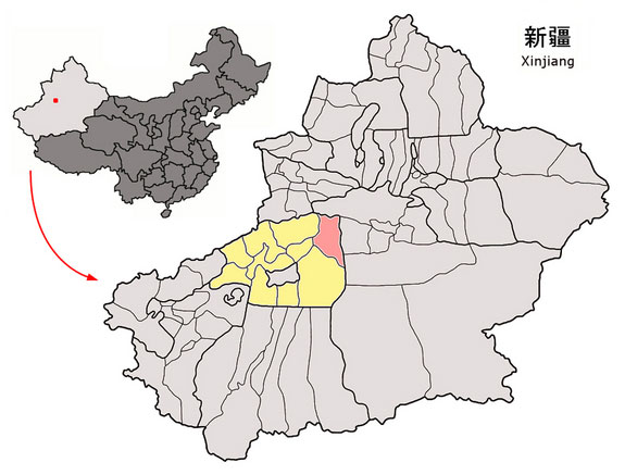 A map showing the location of Kucha within China and the Xinjiang region. The pink area is Kucha County and the yellow area represents the prefecture. Image credit: Wikimedia.