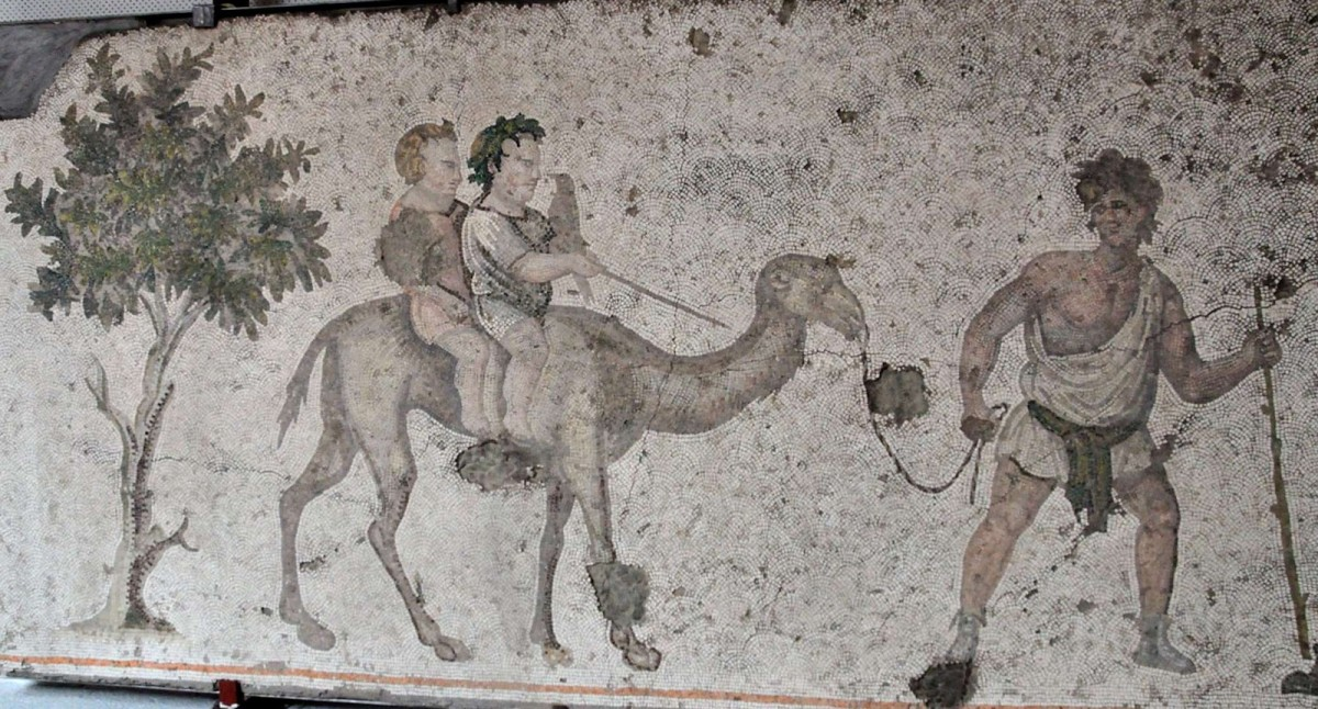 Boys on a camel. Mosaic from late antiquity, early 6th century CE. Great Palace Mosaic Museum, Istanbul.
