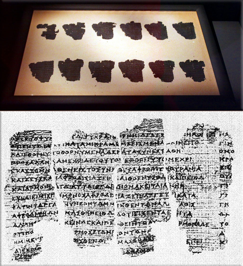 The Derveni Papyrus, Archaeological Museum of Thessaloniki. ©Archaeological Museum of Thessaloniki.