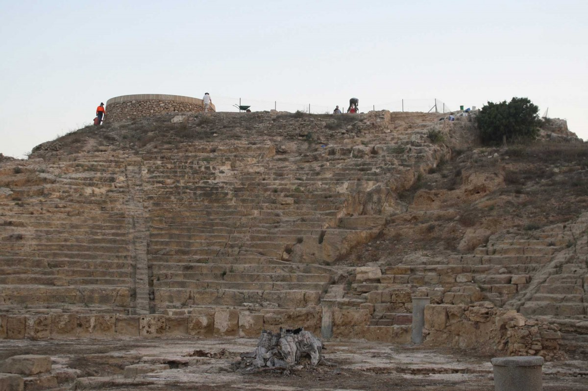 Nea Paphos: The ancient theatre on the Fabrika hill.