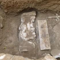 Attic funerary stele found at Kerameikos
