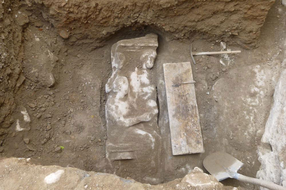 Kerameikos: The grave stele was found during the excavation period of 2014. Photo credit: DAI Athen