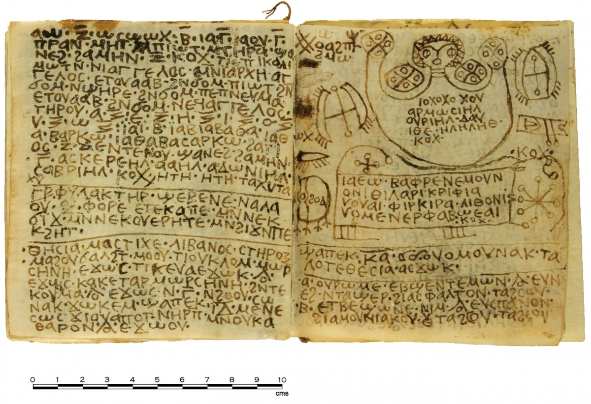 Pages from the handbook of spells showing part of the text. Credit: Photo by Ms. Effy Alexakis, copyright Macquarie University Ancient Cultures Research Centre.