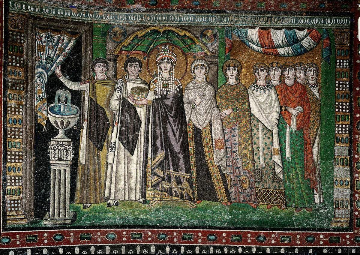 Empress Theodora and Her Retinue, 6th century. Basilica of San Vitale, Ravenna.
