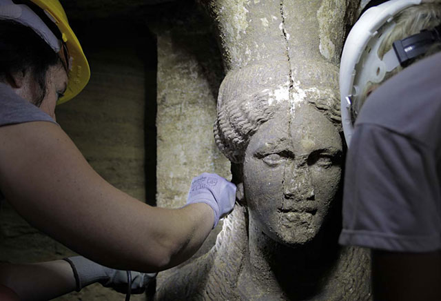 One of the two Caryatids that came to light in Amphipolis.