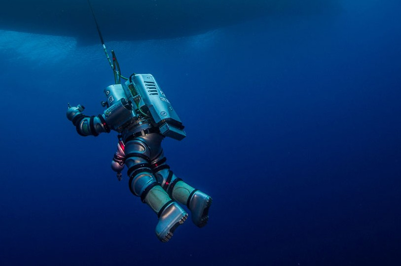 Exosuit was deployed as a new tool for deep water archaeology. Photo credit: ARGO, Brett Seymour.