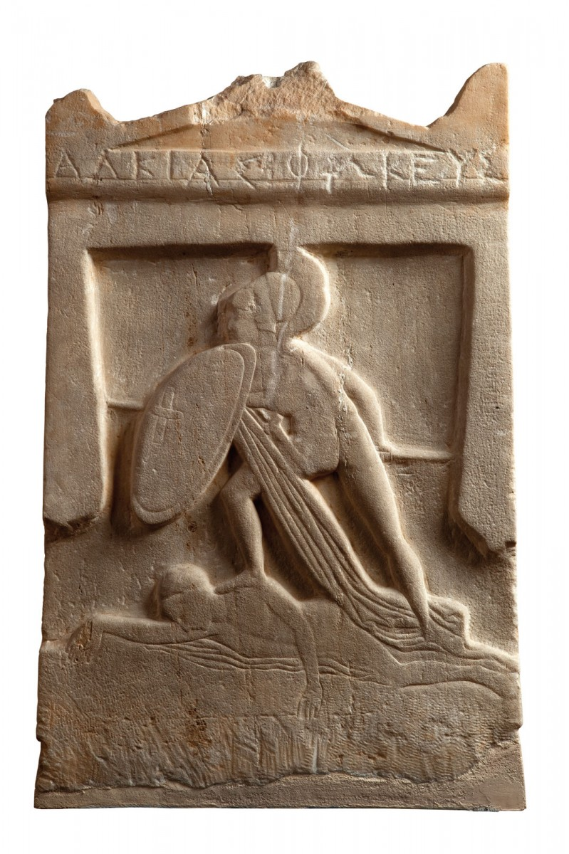 Funerary stele of a warrior, late 5th c. BC. The dead Alkias Fokeus is depicted as a victorious hoplite. Athens National Archaeological Museum Photo © Hellenic Ministry of Culture and Sports, photographer Irene Miari